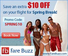 Save an extra $10 on your flight for Spring Break at Fare Buzz  #coupon #flight
