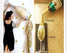 Champagne Bottle Balloon Tassel Kit - New Years Eve 2019 Gold Decor, Bachelorette Party, NYE Wine Bubbly Bar, Wedding Pop Fizz Clink House Party Decorations, New Years Eve Decorations, Balloon Decorations, Balloon Ideas, Black And Gold Balloons, Champagne Balloons, 21st Bday Ideas, Large Balloons, Foil Balloons