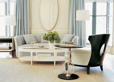 Barbara Barry room, light and soft color palette but more severe, modern lines on furniture