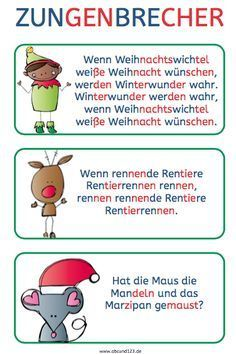 Christmas tongue twister – Famous Last Words Early Intervention Program, Kindergarten Portfolio, Tongue Twisters, Reading Practice, Learn German, Kids Behavior, Educational Programs, German Language, Fun To Be One
