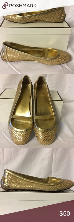 Coach Gold Metallic  Flats Gold Coach Moccasin flat with elastic strap. These shoes are in excellent condition. Put a little sparkle in your step!  They are a size 7M. (These shoes tan a bit larger as I am normally a 7.5 but took these in a 7 because they fit better.) Coach Shoes Moccasins