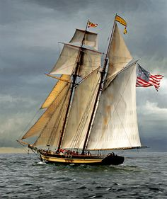 """Pride of Baltimore II.  Slightly larger and more modern than the original Pride of Baltimore on which """"Kestrel"""" was based, and, in my opinion, not as pretty as her predecessor, but breathtaking all the same.  She appears on the cover of Captain Of My Heart."""