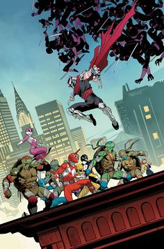 geek culture Thr fourth issue of Mighty Morphin Power Rangers/Teenage Mutant Ninja Turtles will see our Rangers and Ninja Turtles switching outfits. Teenage Ninja Turtles, Ninja Turtles Art, Battlestar Galactica, Bugatti Veyron, Crossover, Adventure Time, Apple Tv, Midtown Comics, Comic Book Collection