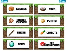 Ultimate Minecraft party printable food labels - Mixedstew.com …