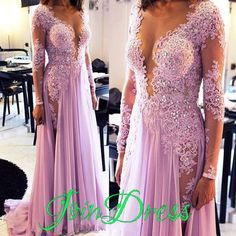 Lilac Long Prom Dresses Long Sleeves Deep V Neck Lace Beaded Chiffon Sexy Evening Gowns