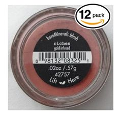 (PACK OF 12) Bare Minerals / Bare Escentuals RICHES (42757) Blush Makeup. Gold Infused! WARM EARTH PINK. Ideal for ALL Skin Types. (Pack of 12 Compacts, .02oz Each). Pack of 12 Compacts, .02oz Each. Helps Keep Your Skin Feeling Young, Clean & Fresh!. Brighten your features with warm, soft color. Uses a 100% pure blend of natural minerals. Keeps your skin clear of preservatives, oils, waxes, and fragrance.