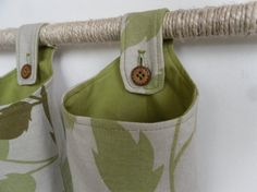 Small Fabric Baskets Autumn Leaf Print and Olive Green