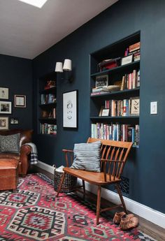 The Reading Nook + Get The Look - Emily Henderson Emily Henderson_Hague Blue Reading Nook_Leather Chair_Gallery Blue Rooms, Blue Walls, Sweet Home, California Homes, Contemporary Decor, Contemporary Stairs, Contemporary Building, Contemporary Cottage, Contemporary Wallpaper