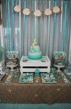 Lovely mermaid under the sea birthday party! See more party ideas at CatchMyParty.com!