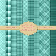 10 Aqua Toned Plaid Digital Paper - Digital Patterns - Printable Papers - JPG Files - Commercial Use Instant Download