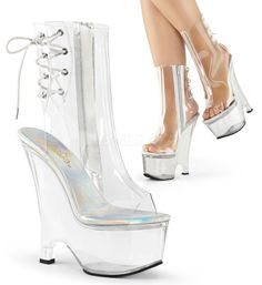 Pleaser BEAU-1018C Clear Ankle Boots With Clear Platform