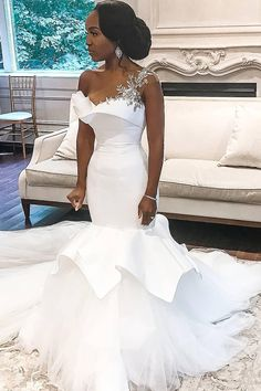 African One-Shoulder Wedding Dresses Mermaid Beaded Lace Up Plus Size Bridal Gowns Bride Dress Robe De Mariee 2020 Tulle Wedding, White Wedding Dresses, Bridal Dresses, Satin Mermaid Wedding Dress, Wedding Lingerie, Ivory Wedding, Gown Wedding, Bouquet Wedding, Wedding Nails