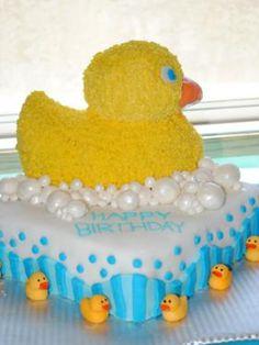 Rubber Ducky Cake: 19 fun first birthday cake ideas.