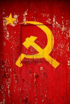 Communist Party Symbol In A Old Wooden Door With Red Paint Peeling Stock Photo, Picture And Royalty Free Image. Communist Propaganda, Propaganda Art, Hammer And Sickle, Old Wooden Doors, Classic Doors, Red Paint, Russian Art, Soviet Union, Symbols