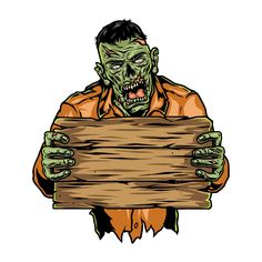 Halloween Zombie with a wooden signboard vector illustration. From Halloween designs by DGIM Studio. Download on www.dgimstudio.com and create your own super Halloween look 2020! #halloween #zombie #vector #vectoriilustration #sighboard