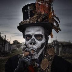 One of my favs shoots to date.  #baronsamedi in #nola #neworleans makeup by @jonnybfx  #mardigras #voodoo #cigars #graveyard #horror #nightmare #skulls #lowbrowart #gabrielknight #neworleansvoodoo #thefrenchquarter #snake #python #skullmakeup #hell by mattbarnesphoto