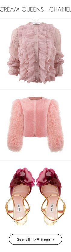 """""""SCREAM QUEENS - CHANELS"""" by viva-la-revolucion ❤ liked on Polyvore featuring tops, blouses, shirts, pink, long-sleeve shirt, long sleeve blouse, long sleeve ruffle blouse, pink ruffle blouse, long sleeve shirts and outerwear"""