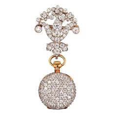 Tiffany & Co. Yellow Gold and Diamond Pendant Watch on Platinum and Diamond Pin | From a unique collection of vintage pocket watches at http://www.1stdibs.com/jewelry/watches/pocket-watches/