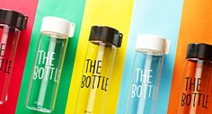 Clear water bottle with typo