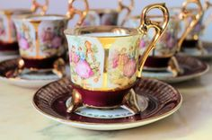 Italian Glass Tea Cups | ... about Stunning Gold Gilt French Fragonard Footed Tea Cup & Saucer Set