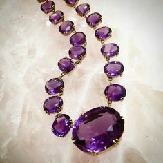 Necklace Collection : A gorgeous amethyst necklace with the clasp in the biggest piece of amethyst! - October 19 2019 at Purple Jewelry, Amethyst Jewelry, Amethyst Necklace, Gems Jewelry, Gemstone Jewelry, Jewelery, Silver Jewelry, Jewelry Accessories, Fine Jewelry