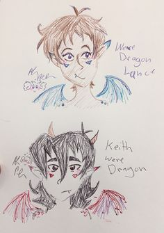 Art blog for Alana / Miss Kitty - So did some klance wereDragons drawings/scribbles...