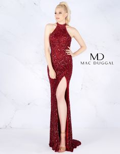 A form fitting, fully sequined evening gown showcasing a high neckline, cold shoulder, open back, and a thigh high slit. Sequin Prom Dresses, Bridesmaid Dresses, Formal Dresses, Bridesmaids, Formal Prom, Glamour, Thigh Highs, Evening Gowns, Fashion Beauty