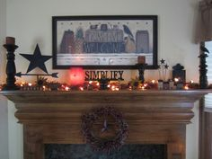 primitive homes with tobacco cloth curtains Primitive Mantels, Primitive Home Decorating, Primitive Fireplace, Primitive Living Room, Country Fireplace, Primitive Homes, Country Primitive, Primitive Decorations, Primitive Furniture