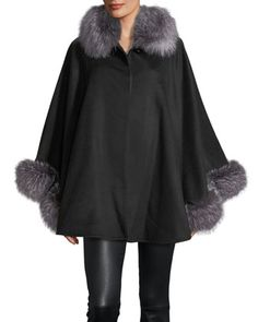 1c172a22ec095 Bed Jackets · Fur-Trim+Wool-Blend+Cape+by+Sofia+Cashmere+