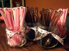 Utensils for pink and brown princess baby shower
