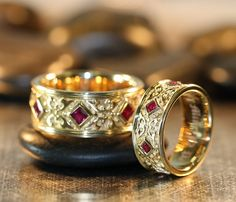 Wedding Bands Celtic Wedding Ring Set Yellow Gold Princess Cut Ruby Wedding Bands for Men and Women Matching Wedding Bands His and Hers by LaMoreDesign on Etsy - Celtic Rings, Celtic Wedding Rings, Diamond Wedding Rings, Bridal Rings, Ruby Wedding, Wedding Yellow, Matching Wedding Bands, Wedding Matches, Aquamarin Ring