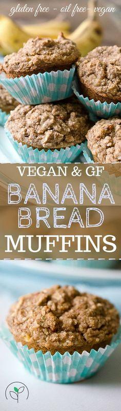 Vegan gluten free banana bread muffins! Plant based recipes. Vegan, gluten free oil free recipes! Vegan muffin recipes. #veganrecipes