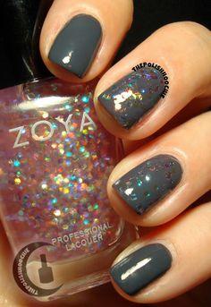 ThePolishHoochie: Zoya Monet Top Coat over Zoya Kelly middle nails) Black Nails, Top Coat, Beauty Hacks, Beauty Tips, Monet, My Nails, Swatch, Nail Polish, Nail Art