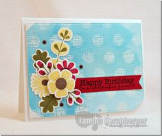 Fall Florals MFT stamps.  Cheesecloth background stamp through jumbo dot stencil  Fall Floral Birthday