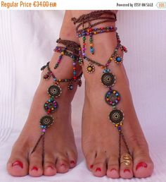 ON SALE FLOWER Mandala barefoot Sandals foot por PanoParaTanto