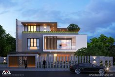 The nice house is in Quang Ngai city Duplex House Design, House Front Design, Front Elevation Designs, House Elevation, House Architecture Styles, Modern Architecture, Cabana, Modern Fence Design, Independent House