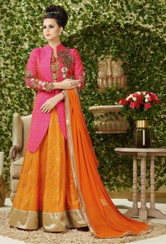 #Semi #Stitched #Pink Art Silk Stylish #Suit #nikvik  #usa #designer #australia #canada #freeshipping #fashion #dress #suits #sale