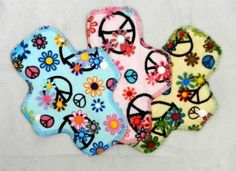 Set of 3 minky Peace Signs reusable cloth pantyliners by MotherMoonPads for $16.00 #zibbet