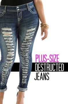Plus-size destructed cuffed jeans.  denim  destructed  jeans  plus Rainbow 88f2eb6843b