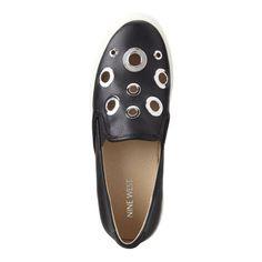 Black Grommet Sharon Slip-On Sneakers   Nine West