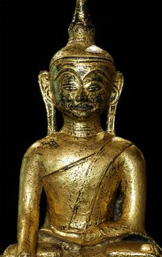 Antique Mon Buddha statue Material: Bronze 60,5 cm high The height of just the bronze (without the wooden base) is 55 cm Gilded with 24 krt. gold Mon style Bhumisparsha Mudra 17-18th century A very special piece because of its age, size and very high quality ! Originating from Burma