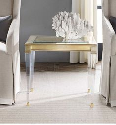 Soho Side Table with Glass Top  Plexi Glass Legs with Brass Detail
