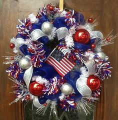 Patriotic Royal Blue Deco Mesh Wreath by HertasWreaths on Etsy, $95.00
