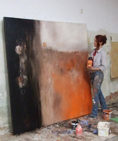 Black and orange large art canvas. I've never had abstract art inspire such a strong emotion in me. I was instantly terrified. I couldn't explain my fear or my need to stare at the painting, but I have to pin this for the emotion it evoked.