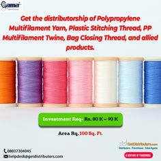 Get the #distributorship of Polypropylene Multifilament Yarn, Plastic Stitching Thread, PP Multifilament Twine, Bag Closing Thread, and allied products. To grab this #BusinessOpportunity, share your contact details. #Yarn #Thread #Twine Yarn Thread, Textile Fabrics, Twine, Stitching, Plastic, Bag, Products, Costura, Stitch