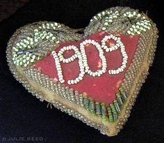 Antique Beaded Indian Pincushion Souvenir Heart