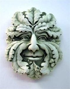 Green Man Plaque Hand Cast Stone (Green)