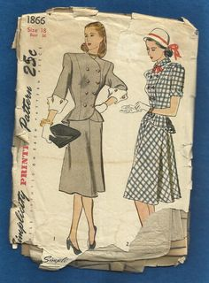 1947 Simplicity 1866 Double Breasted Princess Seam by MrsWooster, $22.00