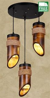 Get this Loft Style Hemp Rope Bamboo Tube Droplight LED Pendant Light Fixtures For Dining Room Hanging Lamp Rustic Light Fixtures, Rustic Lighting, Unique Lighting, Chandelier Lighting, Lighting Ideas, Lighting Design, Hallway Lighting, Bedroom Lighting, Asian Lighting