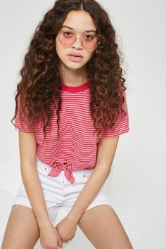 Knot Front Striped T-Shirt
